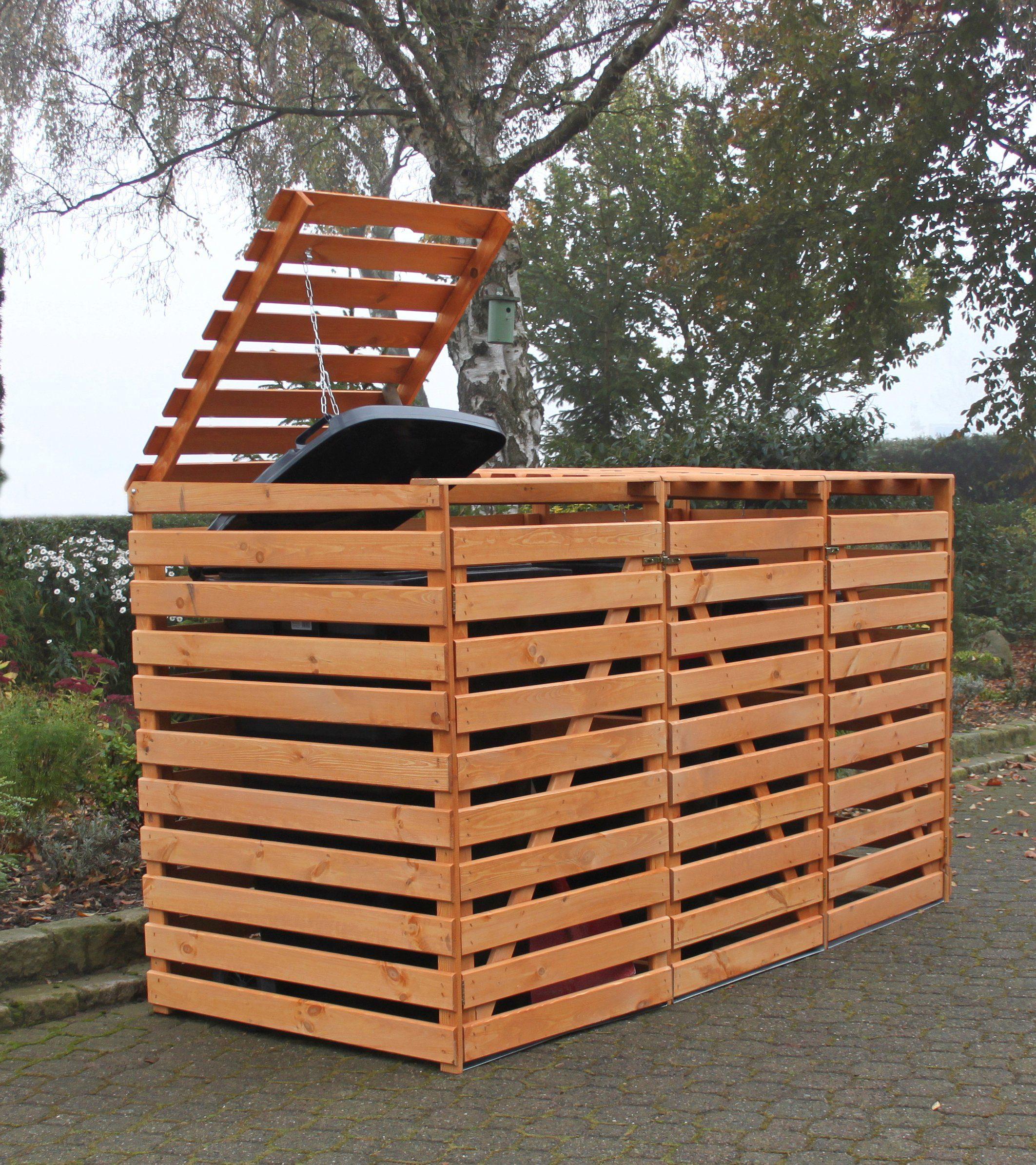 PROMADINO Mülltonnenbox »Vario V«, für 3 x 240 l, braun