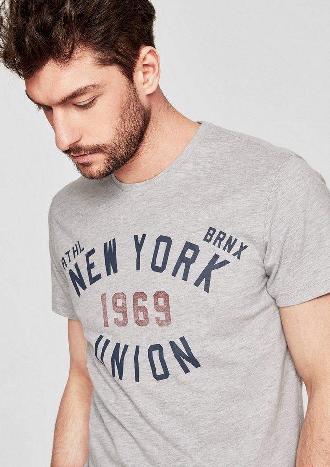 Herren s.Oliver RED LABEL Jersey-Shirt mit Frontprint weiß | 04059998951265