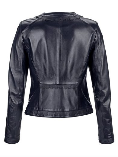 Alba Moda Leather Jacket With Effective All-round Ornamental Iris