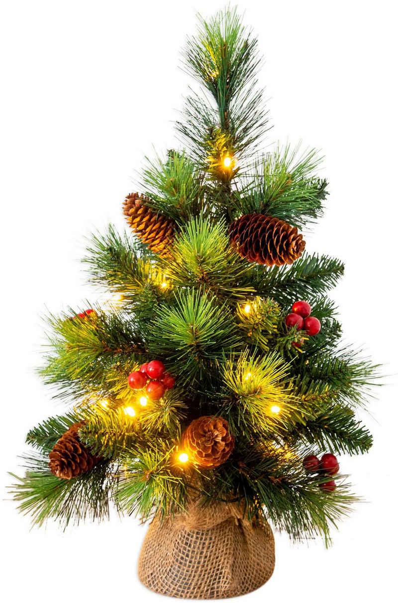 näve LED-Leuchtzweig »LED-Weihnachtsbaum mit Beeren und Tannenzapfen - h: 45cm«, Timer