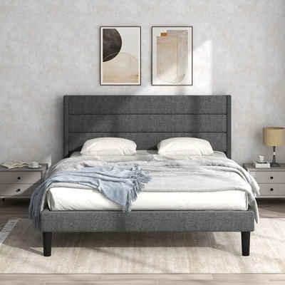 PHOEBE CAT Polsterbett, Bettgestell 140 x 200 cm Doppelbett Ehebett mit Lattenrost & Kopfteil, Textilbezug Leinen in Grau