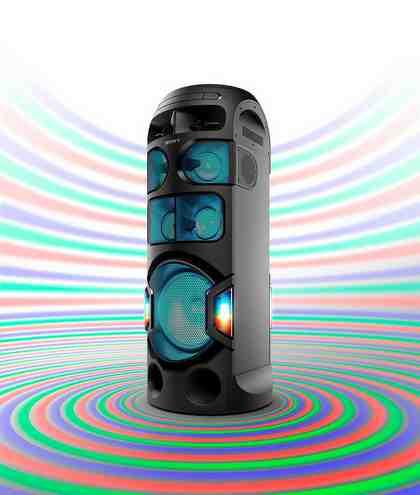 Sony MHC-V81D High Power One Box Music System mit 360º Sound & Beleuchtung (Verbindung über Bluetooth, USB, CD/DVD & HDMI)