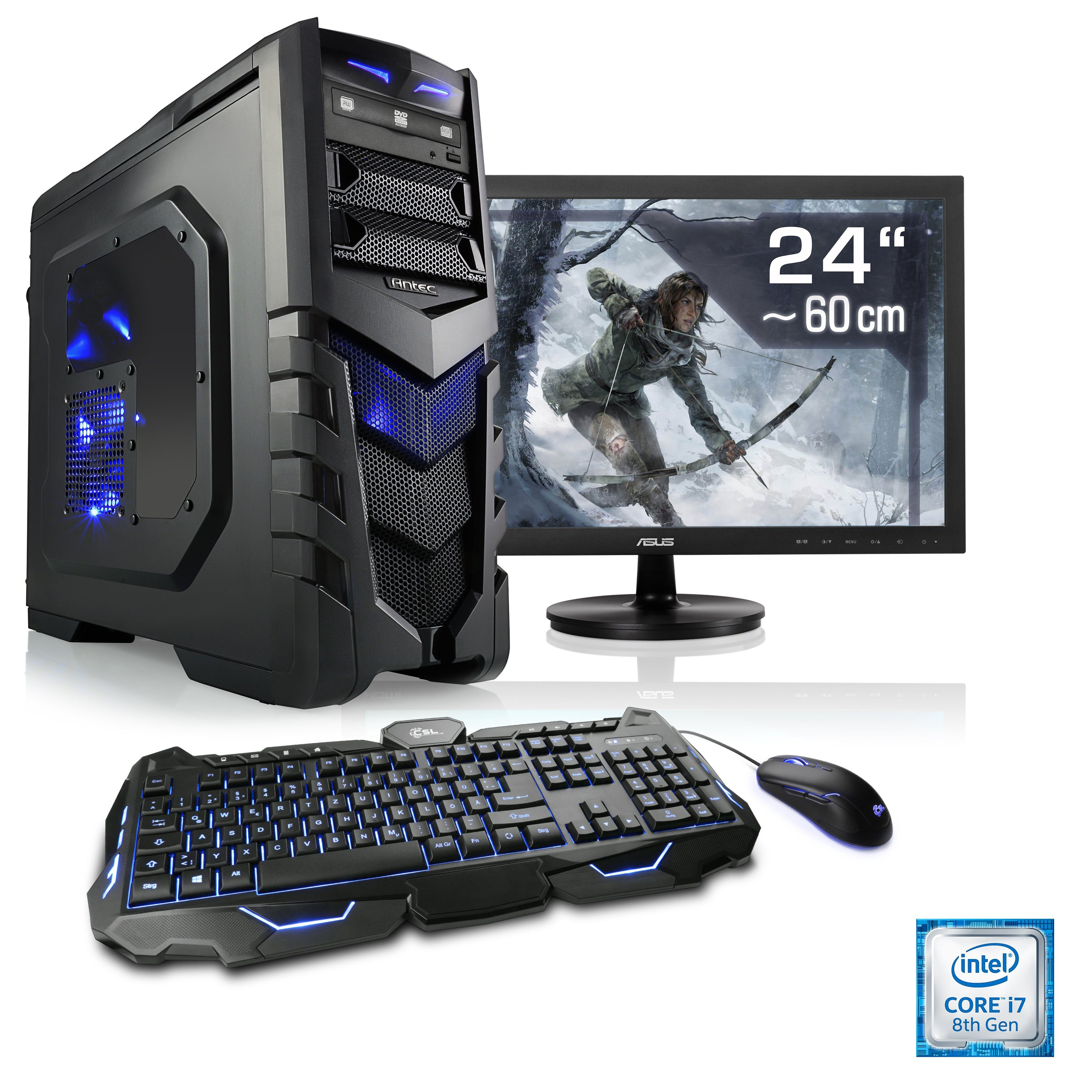 "CSL Gaming PC Set | i7-8700 | GeForce GTX 1060 | 16 GB RAM | 24"" TFT »HydroX T9590 Wasserkühlung«"