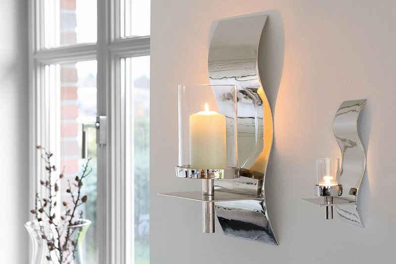 Fink Wandkerzenhalter »WAVE, silberfarben« (1 Stück), Kerzen-Wandleuchter, Kerzenhalter, Kerzenleuchter hängend, Wanddeko, handgefertigt, aus Metall, verschiedene Größen erhältlich, Wohnzimmer