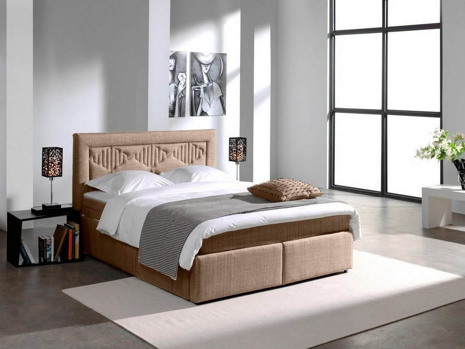 home affaire boxspringbett cesare mit aufw ndiger. Black Bedroom Furniture Sets. Home Design Ideas