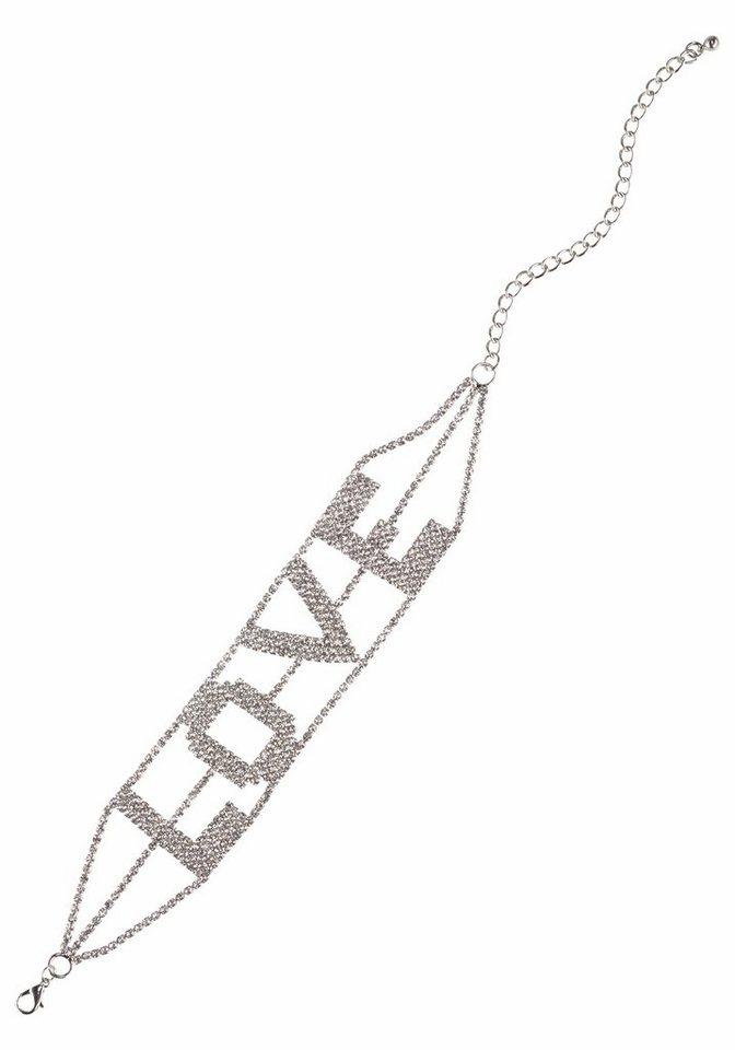 j.jayz -  Halsband Choker mit Strasssteinen, Schriftzug LOVE