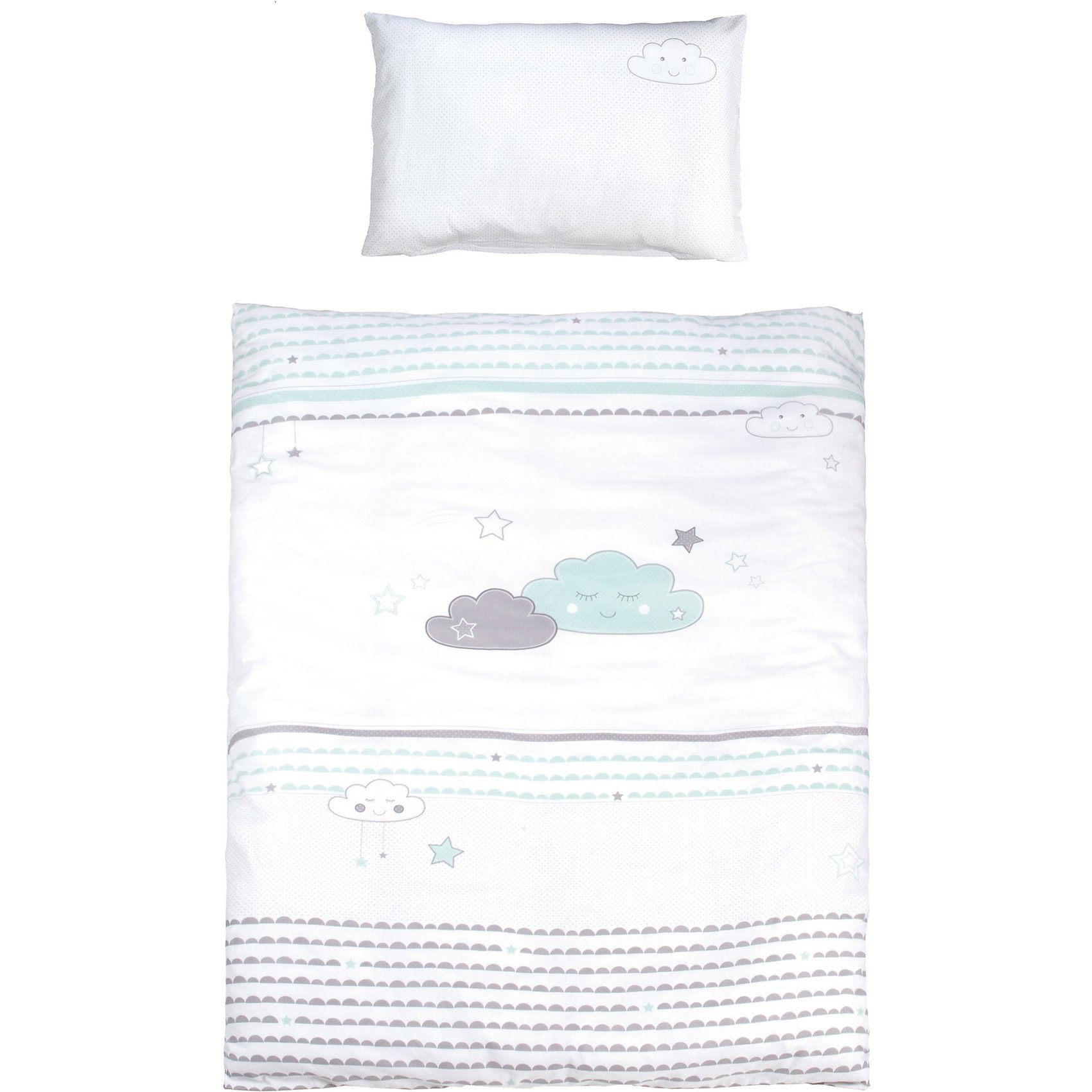 Roba® Kinderbettwäsche Happy Cloud, mint/ taupe, 100 x 135 cm