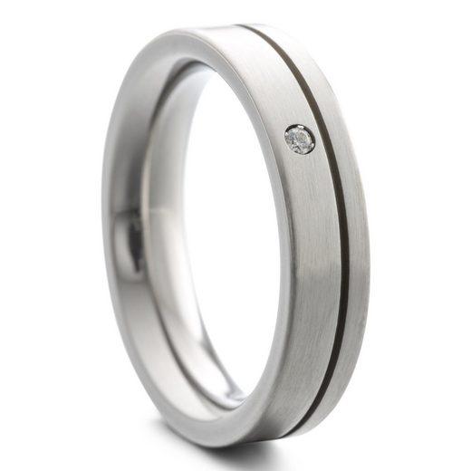 Heideman Fingerring »Paari mit Stein und Nut strichmatt« (1-tlg), Damenring für Frauen mit Stein