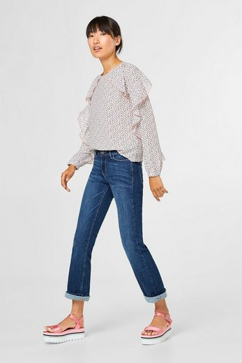 Edc By Esprit Blouse With Ruffles And Graphic-print