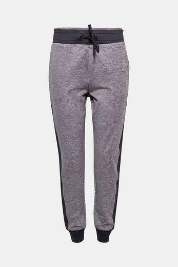 ESPRIT Melierte Jersey-Pants mit Logo-Print
