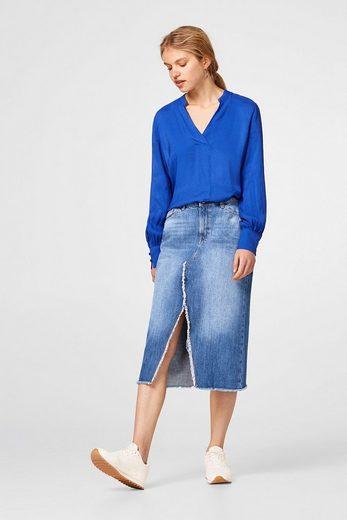 ESPRIT Zarte Bluse mit feiner Streifen-Struktur