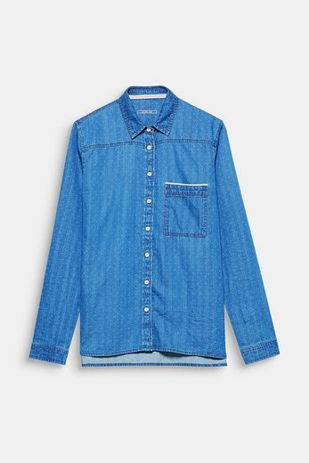EDC BY ESPRIT Jeans-Bluse mit feinen Webtupfen