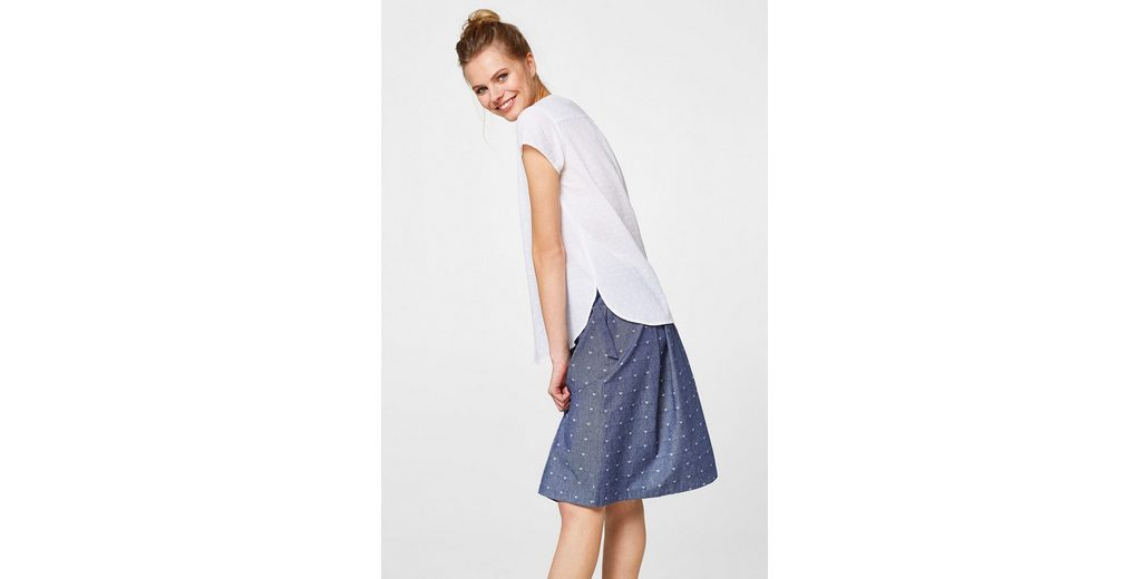 ESPRIT Baumwoll-Bluse mit samtigem Punkt-Print Auslass Für Schön Billig Verkauf Auslass Klassisch Online Kaufen Authentisch ipySHTl