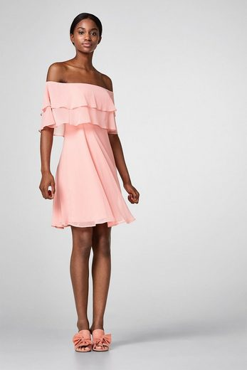 ESPRIT COLLECTION Offshoulder-Kleid aus Crinkle-Chiffon