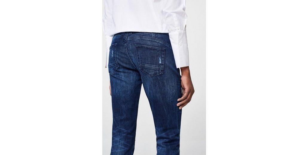EDC BY ESPRIT Destroyed-Jeans mit Knopfleisten Besuchen Neue ZmSTK7PJk