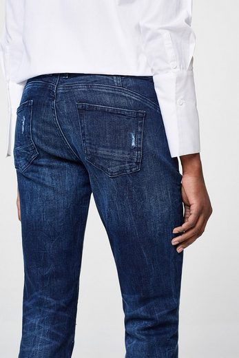 EDC BY ESPRIT Destroyed-Jeans mit Knopfleisten