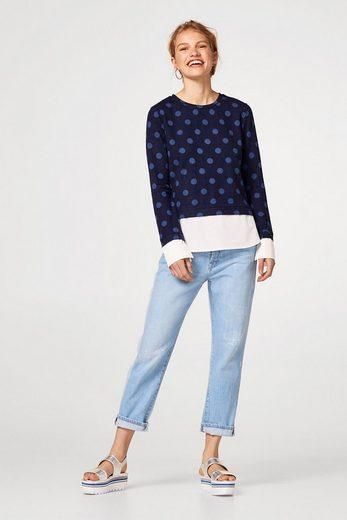 EDC BY ESPRIT Layer Sweatshirt mit Hemd-Details