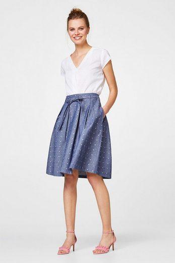 ESPRIT Baumwoll-Bluse mit samtigem Punkt-Print