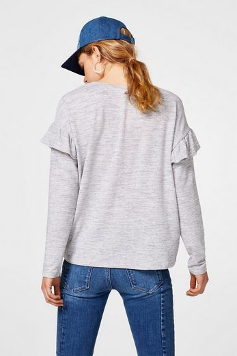 Esprit Heathered Longsleeve With Volant-sleeved