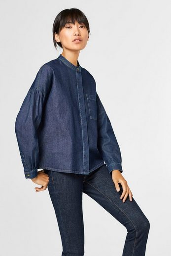 ESPRIT Boxy Denim-Bluse aus 100% Baumwolle