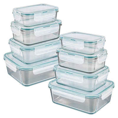 GOURMETmaxx Frischhaltedose, Glas, (8er Set, 16-tlg), Glas-Frischhaltedosen Klick-it
