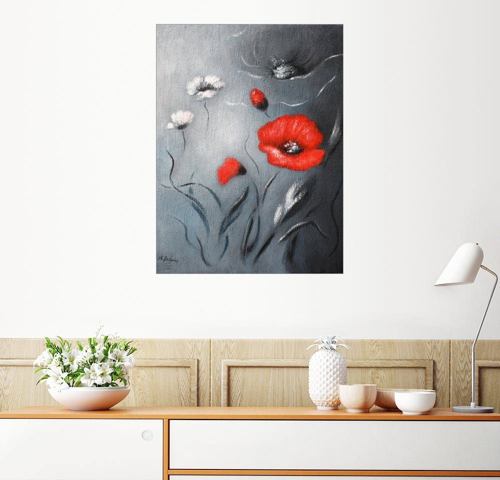 Posterlounge Wandbild - Marita Zacharias »Mohnblumen Roter Mohn abstrakt«