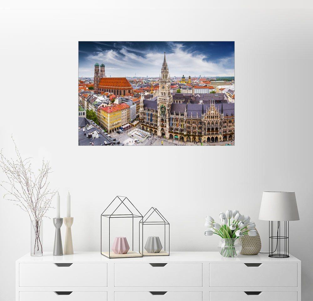 Posterlounge Wandbild »München von seiner schönsten Seite« | Dekoration > Bilder und Rahmen > Bilder | Holz | Posterlounge