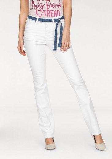 Arizona Straight-Jeans mit Denim- Fransengürtel, High Waist