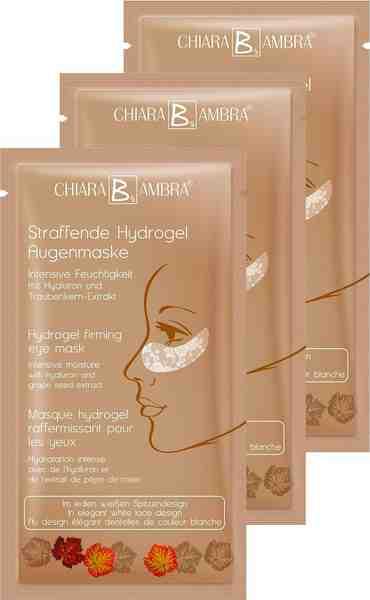 Chiara Ambra, »Hydrogel Augenmaske in weißem Spitzendesign«, Straffende Maske mit Goldschimmer Effekt, 3-tlg.