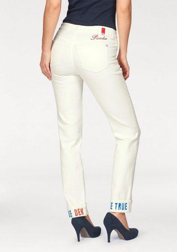 MAC 7/8-Jeans Angela True Paradise, Druck am Umschlagsaum und an der hinteren Tasche