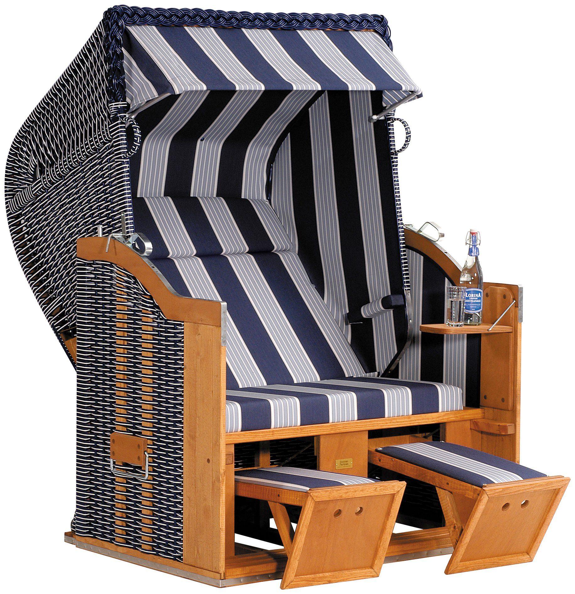 SONNEN PARTNER Strandkorb »Classic 118«, BxTxH: 130x90x160 cm, blau/weiß
