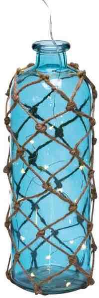 Deko-Flasche mit LED-Lichterkette im Innern