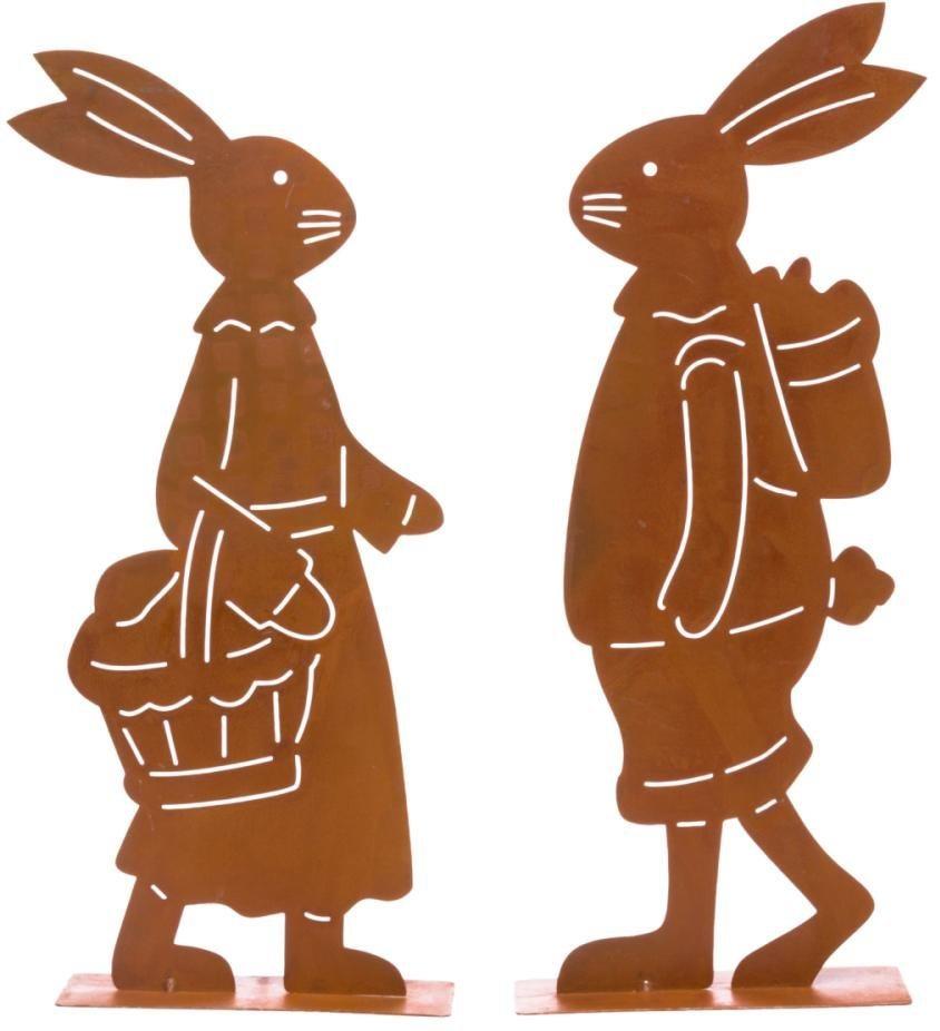 Deko figuren set hasen rost 2 teilig franz fr nzi for Figuren aus rost