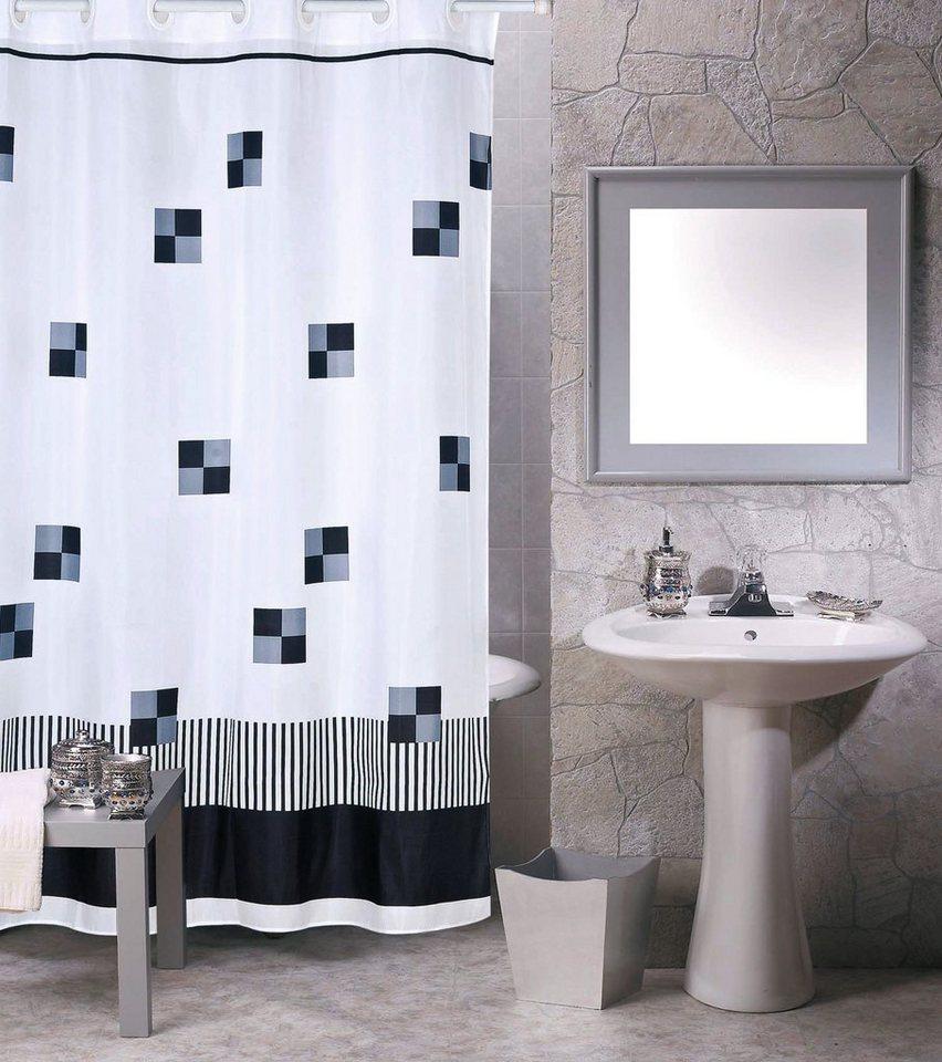 msv duschvorhang schwarz auf weiss breite 180 cm online kaufen otto. Black Bedroom Furniture Sets. Home Design Ideas
