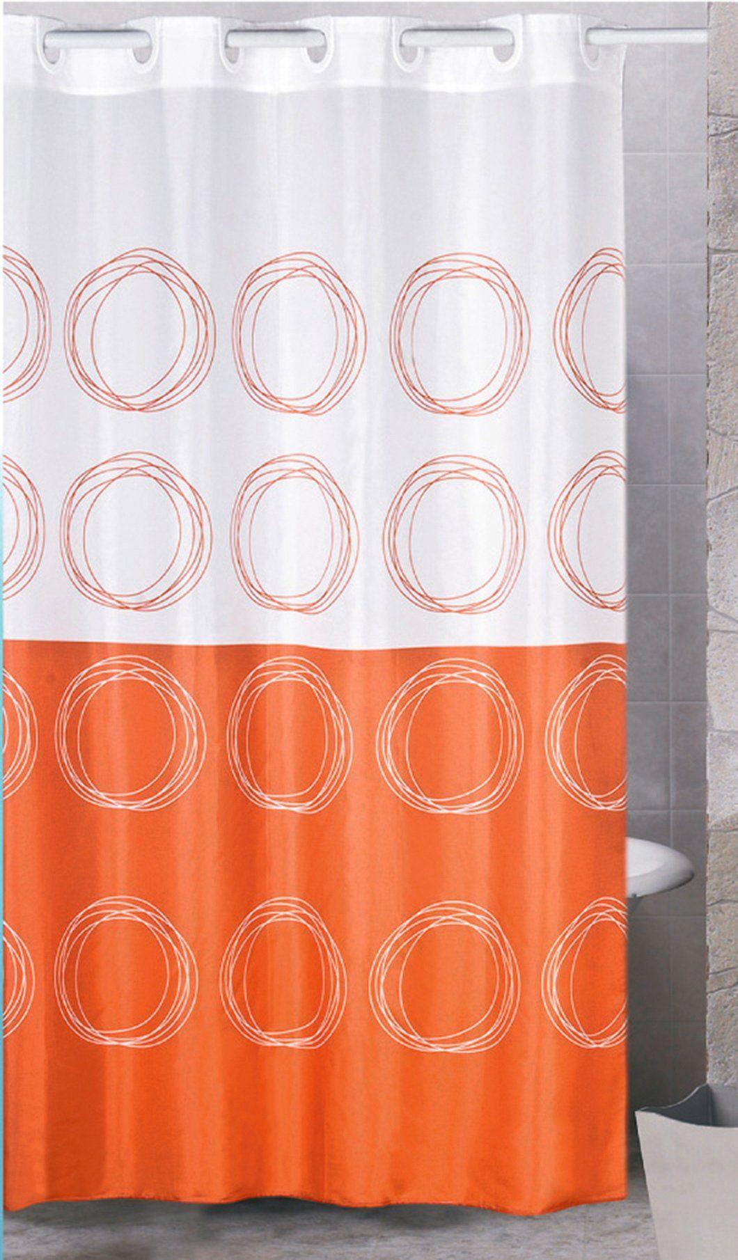 MSV Duschvorhang »ORANGE/WEISS«, Breite 180 cm