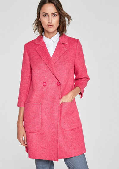 EDC BY ESPRIT Woll-Mix Mantel im 2-tone-Look, rosa, PINK EDC by Esprit