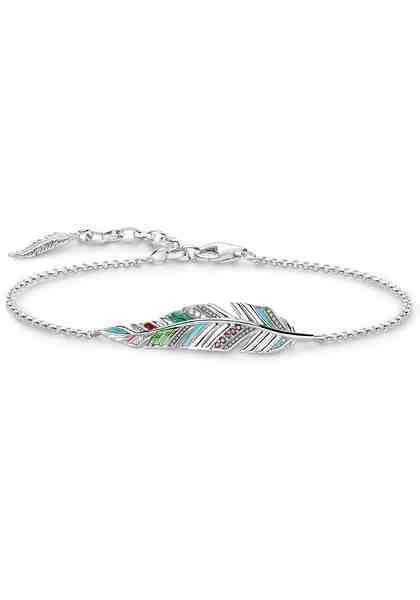 THOMAS SABO Silberarmband »Feder, A1749-340-7-L19v« mit Emaille, Glas-Keramik Steinen, synth. Korund und Zirkonia