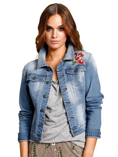 87f825f4d5e2 Alba Moda Jeansjacke mit Blumenstickerei und Zierperlen