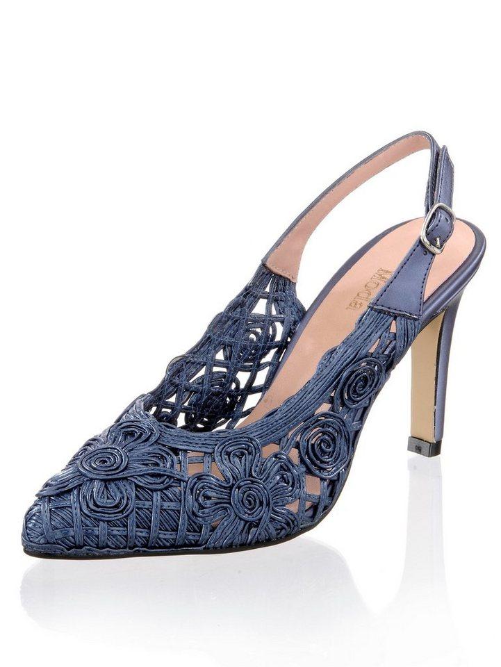 Damen Alba Moda Slingpumps in effektvoller Makramee-Optik blau   04055716444941