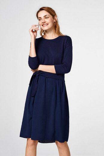 ESPRIT Material-Mix-Kleid mit Schleifen-Detail