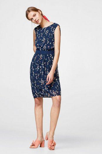 ESPRIT COLLECTION Chiffon-Kleid mit rückseitigem Wickeleffekt