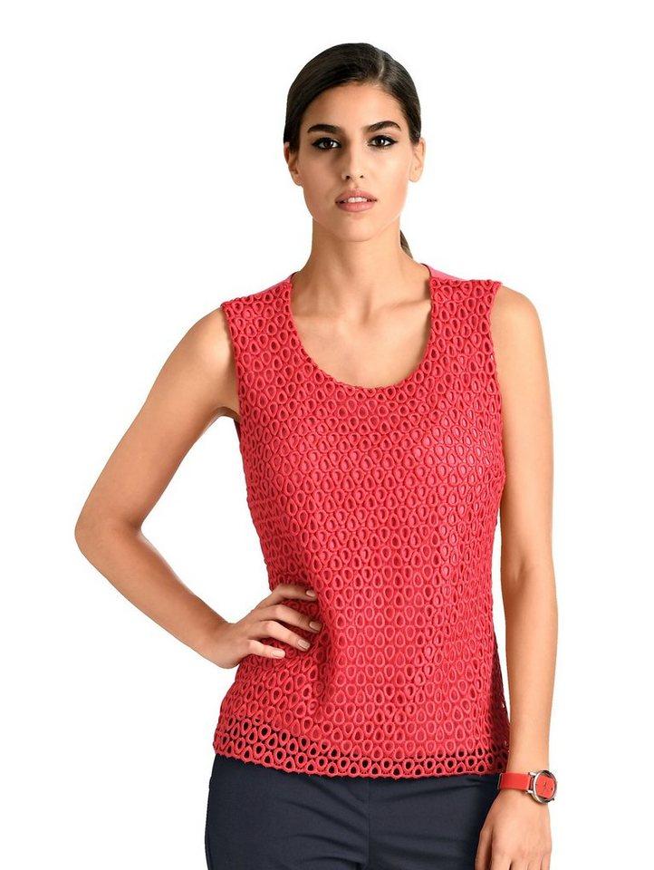 Damen Alba Moda  Top mit Vorderteil aus Spitze rot | 04055716207041