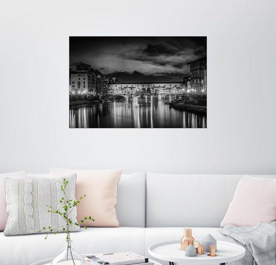 Posterlounge Wandbild - Melanie Viola »FLORENZ Ponte Vecchio bei Sonnenuntergang«