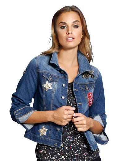 Alba Moda Jean Jacket With Zierperlen- And Sequin Applications