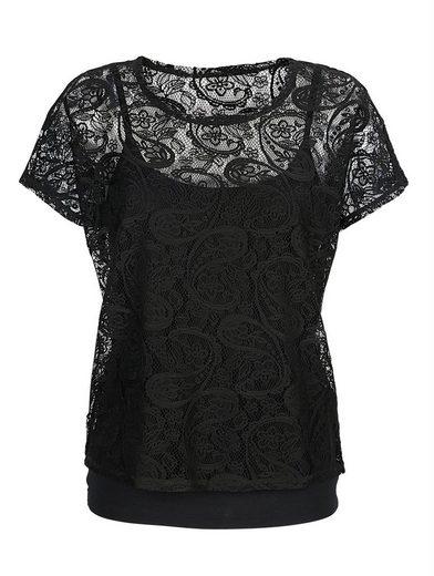 Alba Moda Two-in-One-Shirt mit wunderschöner Spitze allover