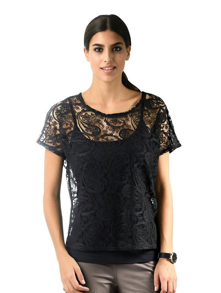 Damen Alba Moda  Two-in-One-Shirt mit wunderschöner Spitze allover schwarz | 04055716223485