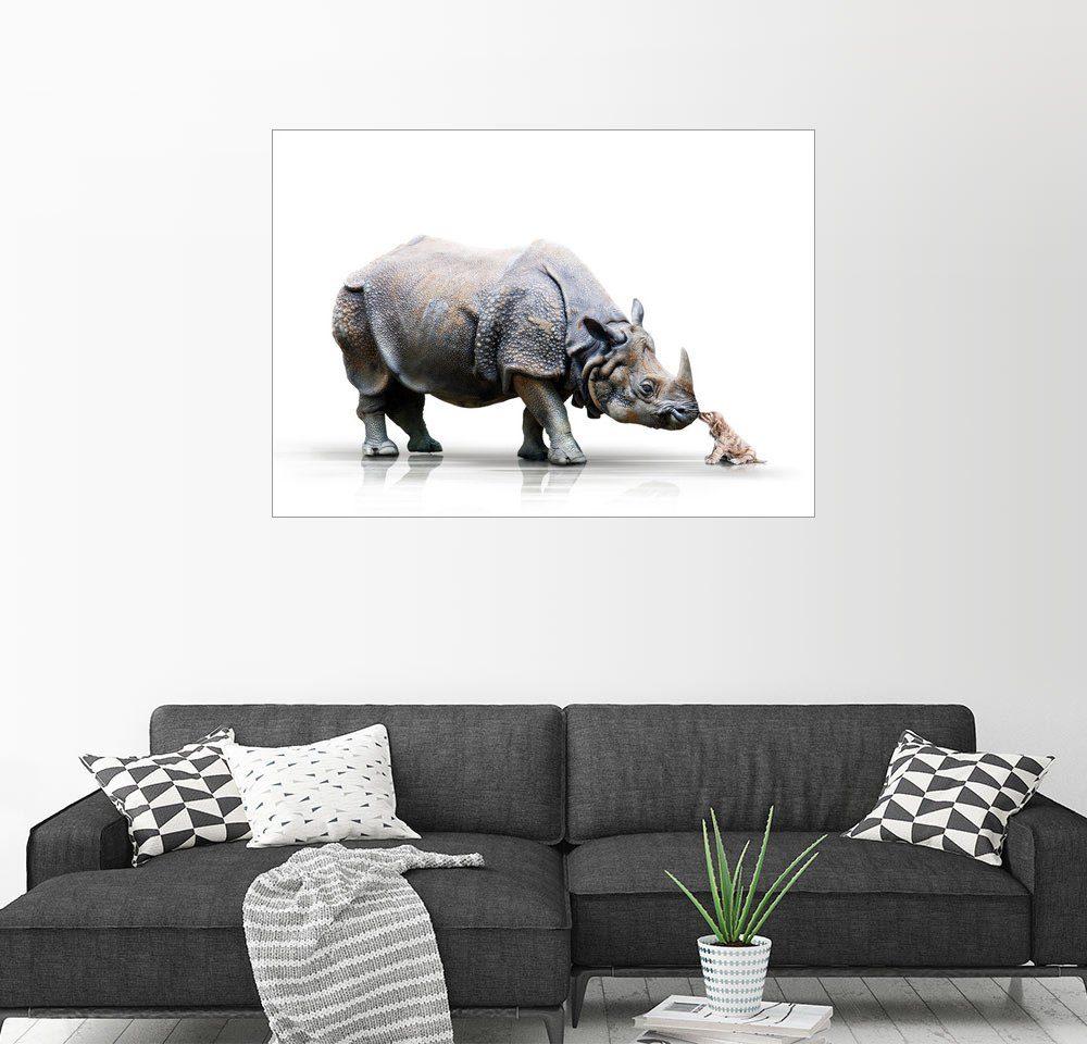 Posterlounge Wandbild - Werner Dreblow »Nashorn und Hund«