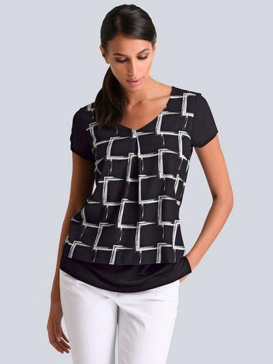Alba Moda Druckshirt in 2 Lagen mit Grafik-Muster