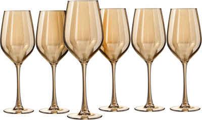 my home Weinglas »Naila«, Glas, mit hochwertiger goldfarbener Optik, 350 ml, 6-teilig