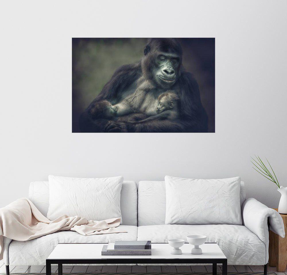 Posterlounge Wandbild - Manuela Kulpa »Gorilla Zwillinge«
